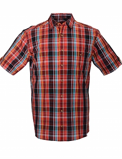 DOUBLE TWO VIBRANT SHORT SLEEVE CHECK SHIRT