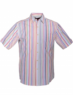 DOUBLE TWO BRIGHT STRIPE SHORT SLEEVE SUMMER SHIRT