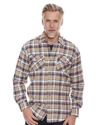 Mens Brushed Check Long Sleeved Shirt