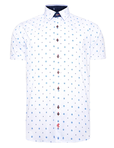 Crest Print Short Sleeve Shirt With Button Down Collar