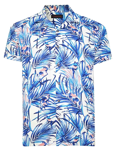 Printed Short Sleeve Shirt With Cuban Collar Macaw Print