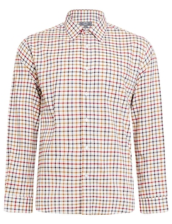 Peter Gribby Long Sleeve Brushed Check Country Shirt - CRANBERRY