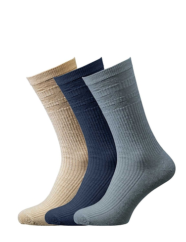 HJ Hall Pack Of 3 Wide Fit Softop Socks