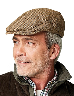 Tweed Cap With Stretch - Brown