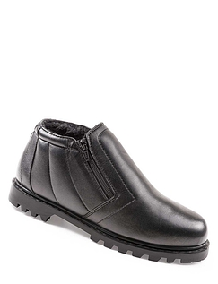 """Toronto"" Mens Handcrafted Real Leather Warm Lined Twin Zip Boots"