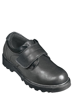 Mens Real Leather Touch Fastening Walking Shoe