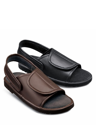 MENS REAL LEATHER FULLY OPENING COMFORT SANDAL