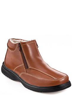 Mens Real Leather Thermal Lined Twin Zip Boot