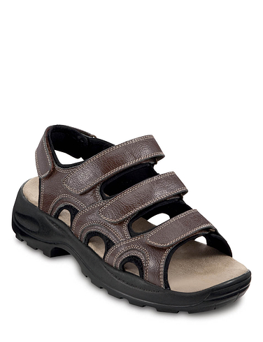 Men's Touch Fasten Triple Strap Leather Sandal