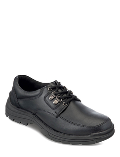 Mens Real Leather Durable Lace Walking Shoe