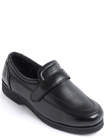 Wide Fit Leather Touch Fastening Shoe