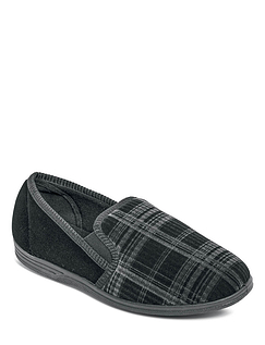 Soft Velour Check Slippers With Elastic Gusset