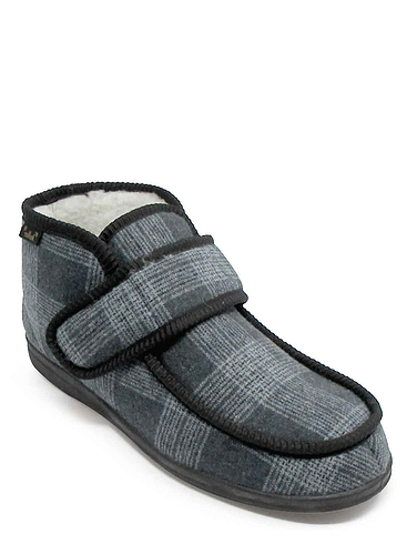 Dr Keller Touch Fastening Thermal Lined Boot Slipper - Grey