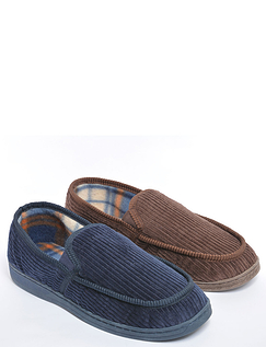 Mens Twin Pack Slippers