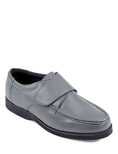 Wide Fit Leather Touch Fasten Shoe