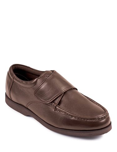 Leather Wide Fit Touch Fastening Shoe