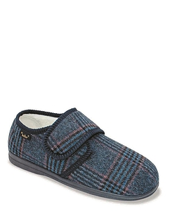 Dr Keller Wide Fit Thermal Lined Touch-Fasten Slipper - Navy