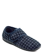 Touch Fasten Washable Slipper With Check Upper