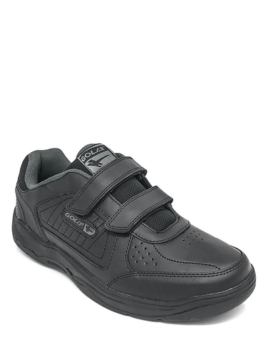 Gola Wide Fit Leather Velcro Trainer - Black