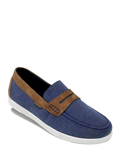 Dr Keller Wide Fit Slip On Canvas Boat Shoe