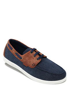 Dr. Keller Wide Fit Lace Canvas Boat Shoe - Navy