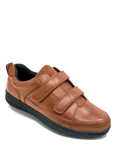 Water Resistant Twin Touch Fasten Leather Walking Shoe