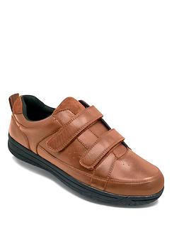 Water Resistant Twin Touch Fasten Leather Walking Shoe