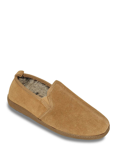 Hush Puppies Suede Slipper with Outdoor Sole and Memory Foam