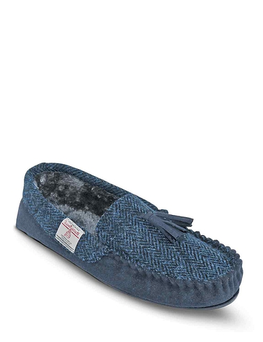 Totes Harris Tweed Washable Slipper With Memory Foam - Navy
