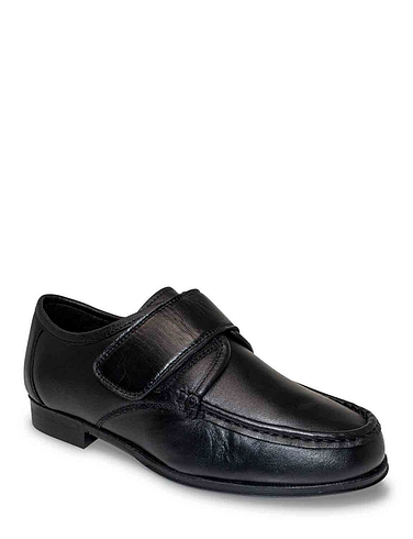 The Fitting Room Leather Wide Fit Touch Fasten Shoe