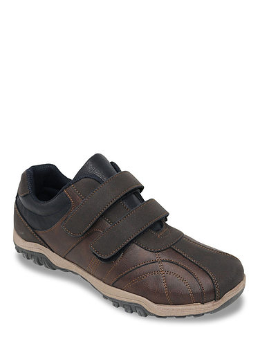 Mens Wide Fit Touch Fasten Shoe - Brown