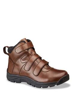 Mens Water Resistant Touch Fasten Wide Fit Leather Boot
