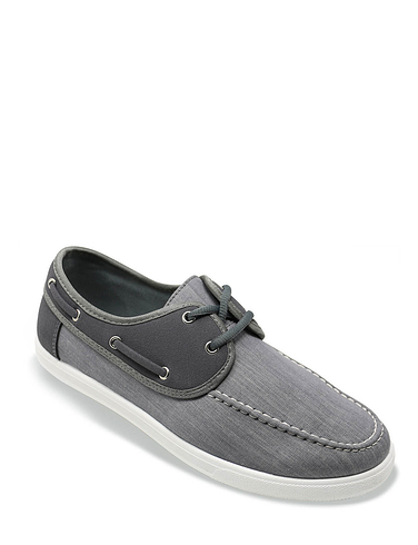 Dr Keller Mens Wide Fit Canvas Lace Boat Shoe