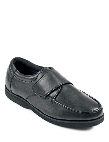 Mens Leather Extra Wide Fit Touch Fasten Shoe