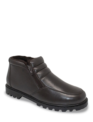 Leather Thermal Lined Twin Zip Boot Wide Fit