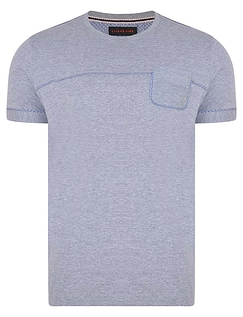 Crew Neck Tshirt With Chest Pocket And Contrast Piping