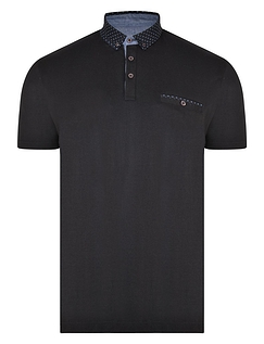 Polo Shirt With Contrast Collar, Pocket & Denim Trim