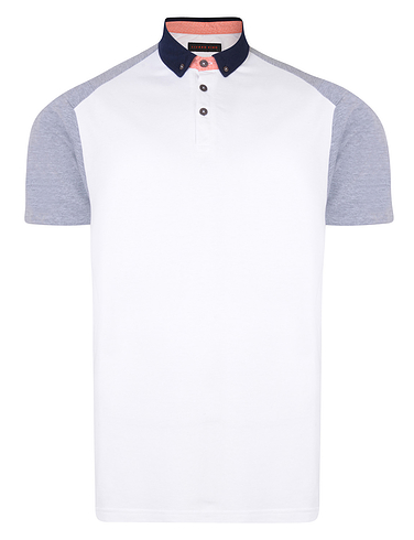 Contrast Raglan Pique Polo With Button Collar