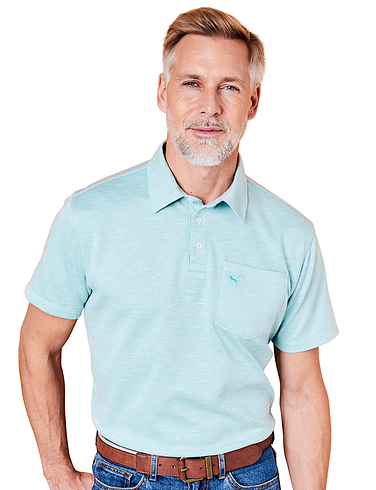 Pegasus Tailored Collar Marl Polo With Chest Pocket