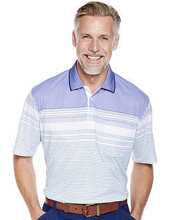 Pegasus Stripe Polo Top with Chest Pocket