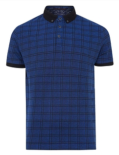 Lizard King Short Sleeve All Over Check Polo - Cobalt