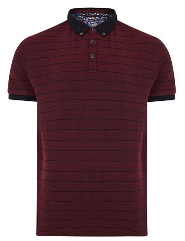 Lizard King Short Sleeve Stripe Polo With Button Down Collar
