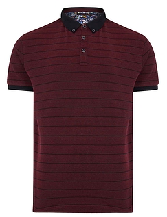 Lizard King Short Sleeve Stripe Polo With Button Down Collar - DAMSON