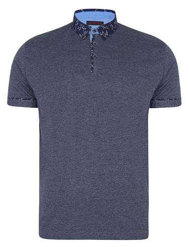 Lizard King Short Sleeve Polo With Printed Button Down Collar - Charcoal