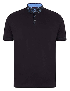 Lizard King Short Sleeve Polo With Woven Button Down Collar - Black