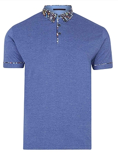 Lizard King Short Sleeve Polo With Woven Collar - Blue