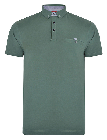 Button Down Polo With Pocket Trim