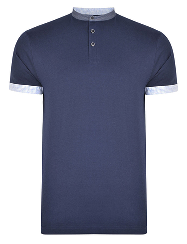 Grandad Collar Polo With Chambray Trim