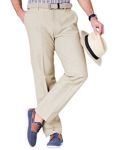 Pegasus Chambray Trouser with Hidden Stretch Waistband and Belt
