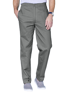Easy Pull On Cotton Trouser - Charcoal